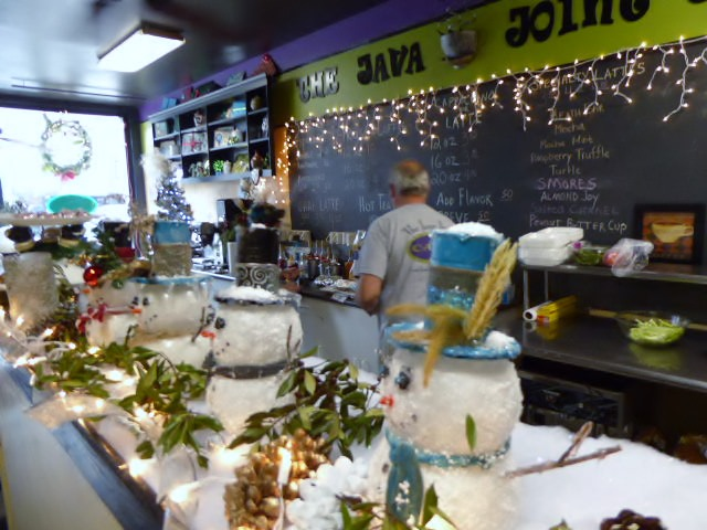 There's a little Christmas everywhere you look on Main Street in Bardstown, Kentucky, including this coffee shop.