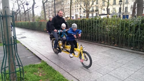 Fun on a tandem bike in Paris.
