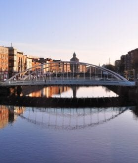 Bridge over Liffey River in Dublin, Ireland