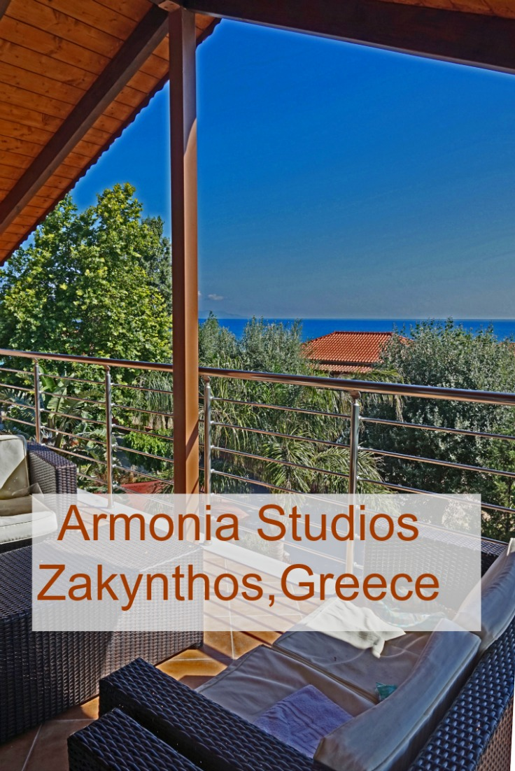 Enjoy the views of the and the gardens from Armonia Studions in Zakynthos Greece