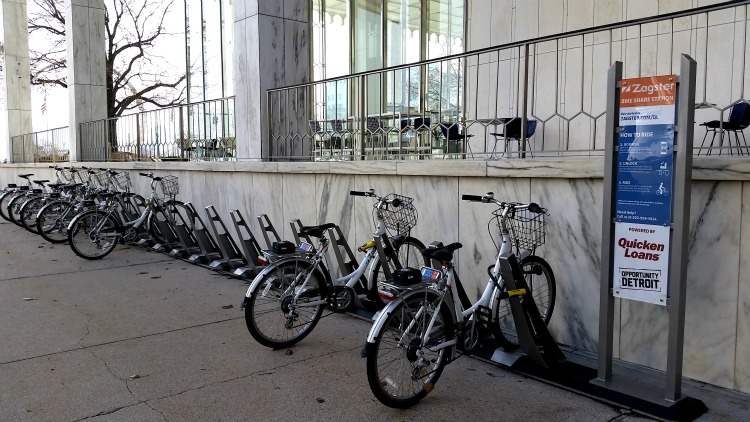 Bike Rental Station in Detroit. Photo by Mary Moore / Retro TravelingMom