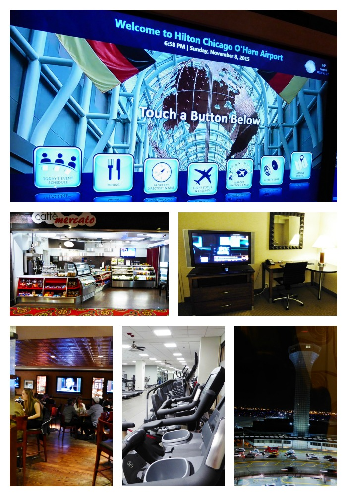 Clockwise from top: Hilton O'Hare electronic welcome board, TV and office space in room, view of the O'Hare control tower, exercise room, bar, grad and go restaurant.