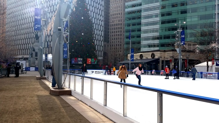 Holiday Ice Skating Rink in Downtown Detroit. Photo by Mary Moore / Retro TravelingMom