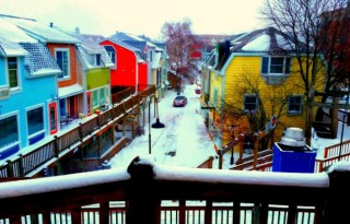 Snow Covered Colorful Buildings in Downtown South Haven. Photo by Mary Moore / Retro TravelingMom