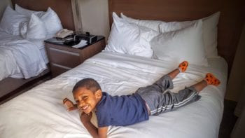 My kids loved the uber-soft beds at the Embassy Suites Chicago.