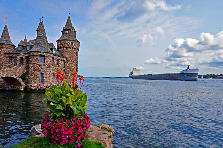 Boldt Castle on beautiful St. Lawrence River in 1000 Islands NY, photo by Yvonne Jasinski