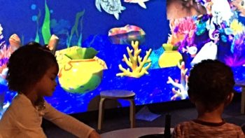 The Sketch Aquarium interactive exhibit at Explora in Albuquerque was a favorite of the kids, the parents and the grandparents. Photo by Maria Perez