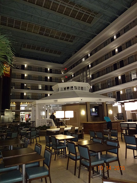 You can eat in the lobby or poolside at the Embassy Suites Lake Buena Vista. Photo by Jenn Greene, Tween & Teen TravelingMom