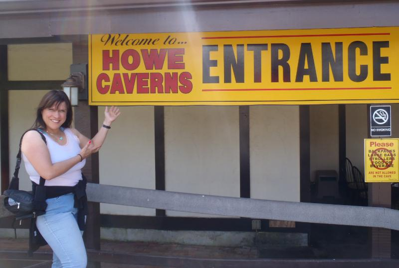 Fran at Entrance to Howe Cavern. Photo Credit: