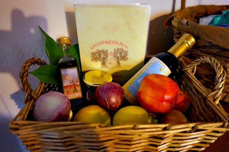 Logothetis Organic Farm - welcoming basket, photo by Yvonne Jasinski Credit Card TravelingMom