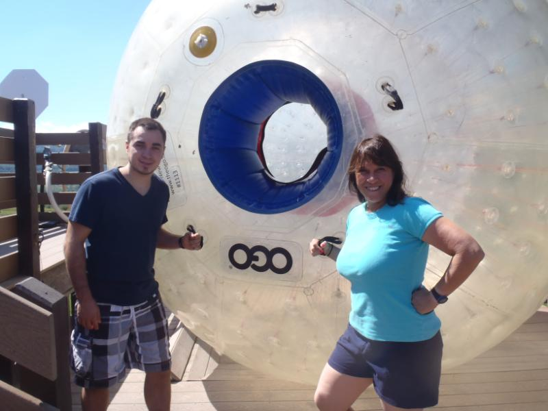 Fran Capo and Son Spencer posing with Howe Cavern OGO ball. Photo Credit: