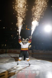 Photo courtesy of Chicago Wolves Skates, the mascot of the Chicago Wolves, lights up the pre-game show.