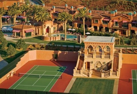 An aerial view of the tennis courts and resort. Photo credit: Fairmont Grand Del Mar.
