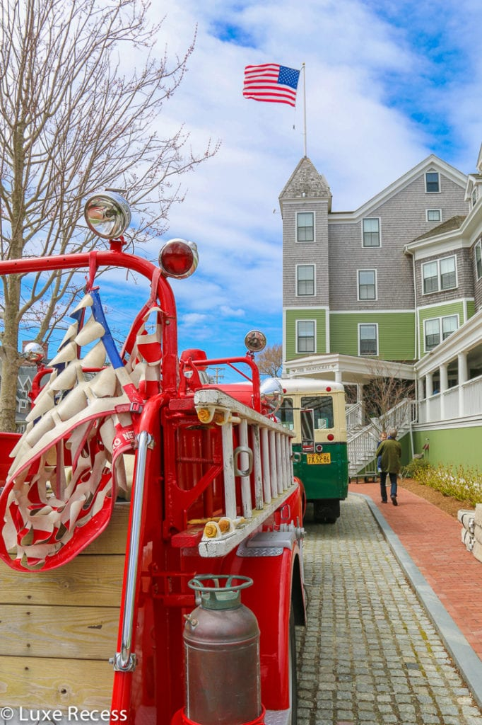 The Nantucket Hotel's vintage fire truck and school bus are waiting to take you for a ride. Photo credit: Robin Hutson of LuxeRecess.com