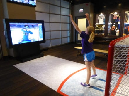 Photo by Jamie Bartosch/Suburban TravelingMom Sports memorabilia and interactive video games fill the Chicago Sports Museum in Water Tower Place.