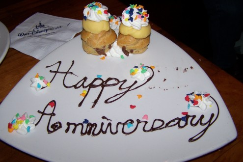 The servers at Kona treated us to an anniversary dessert - even though it was included in the Dining Plan. Photo by Scott Lebeau