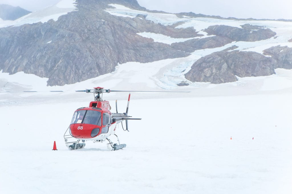 A breathtaking helicopter ride over the glacier is included in this very pricey dog sledding tour. Photo by Britni Vigil