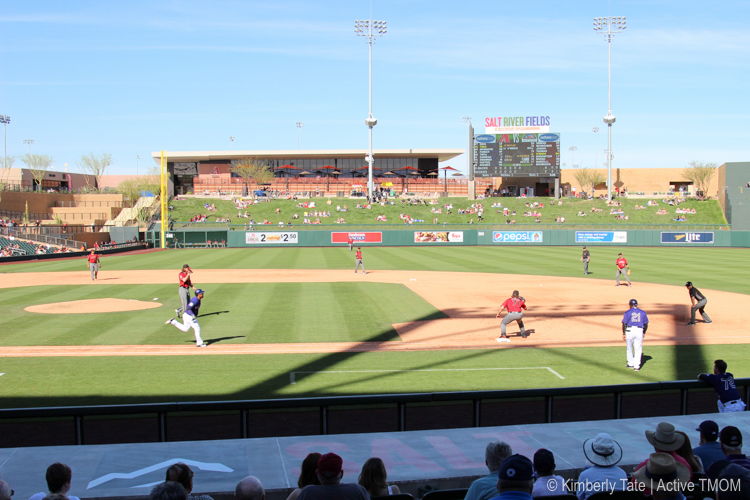 Watching the game from the shade at Salt River Fields Phoenix Arizona Photo credit: Kimberly Tate / Active TravelingMom