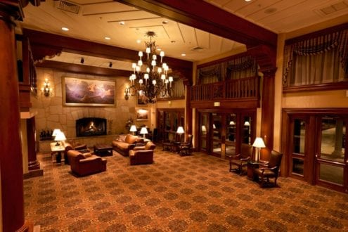 The lobby of the Grand Canyon Railway Hotel. Photo credit: Grand Canyon Railway.