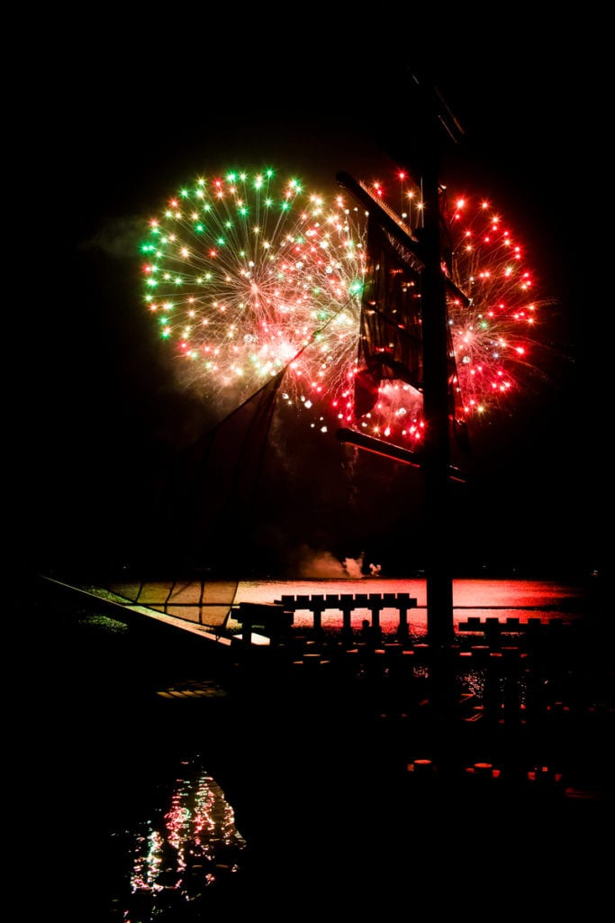 Fireworks display over Lake Eloise at LEGOLAND Florida Resort.