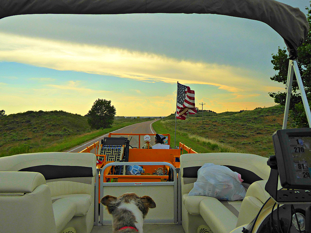 Sunset at Lake McConaughy, exploring the campgrounds while riding in friend's Unimog.