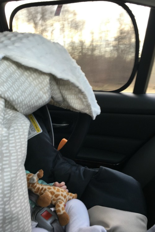 A sunshade keeps your baby cool and shade on a road trip.