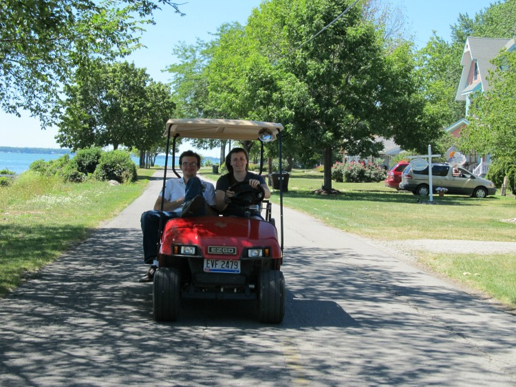 The best mode of travel in Put-in-Bay and on Kelleys Island is golf carts.