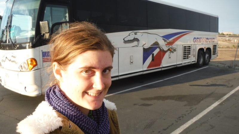 Traveling by Greyhound bus.
