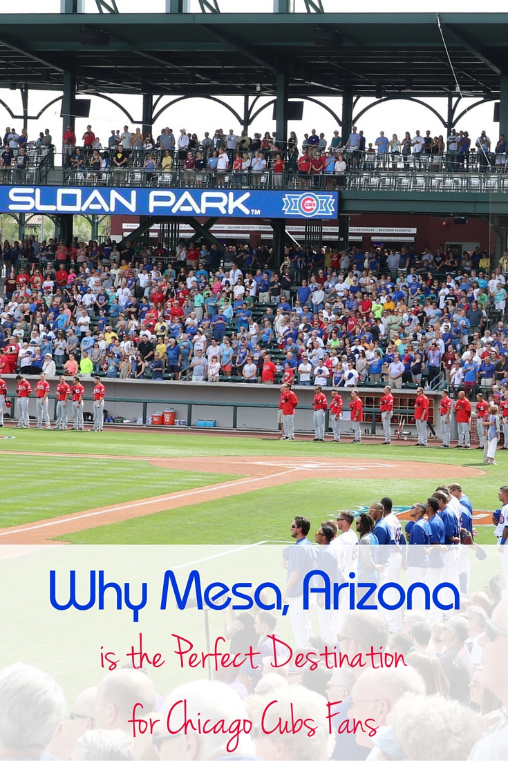 Mesa, Arizona is the Perfect Destination for Chicago Cubs Fans because Sloan Park gives a nod to many Wrigley Field features. The surrounding city of Mesa, Arizona also embraces Midwestern visitors making them feel at home. -TMOM