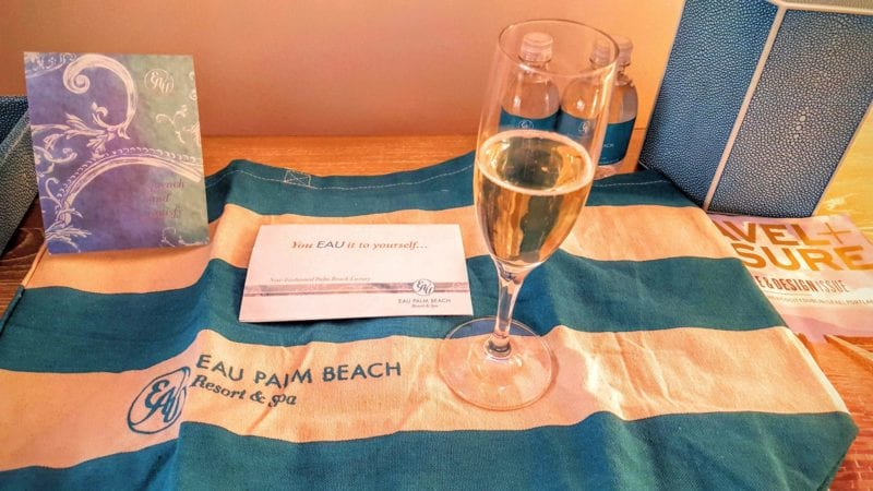 Champagne for all upon arrival at Eau Palm Beach.