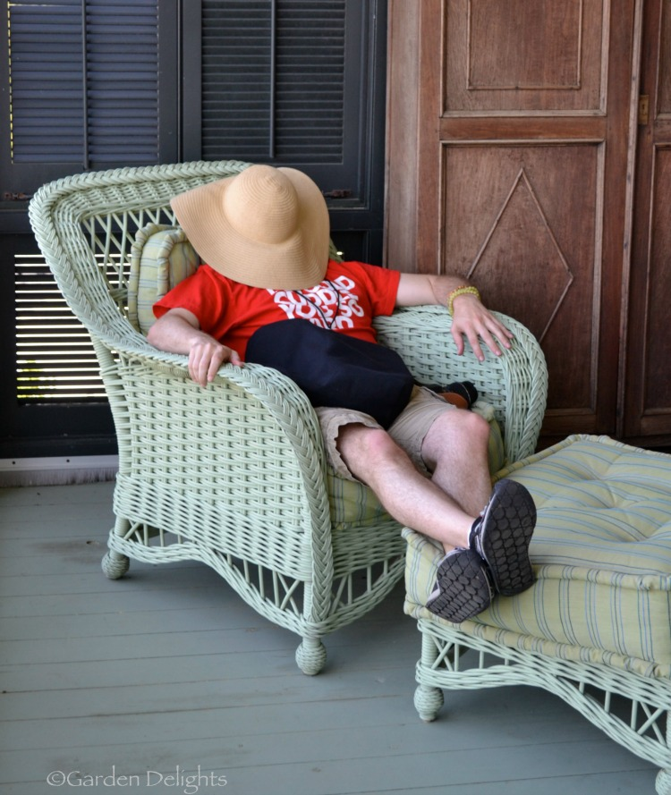 My friend couldn't resist a nap on the sleeping porch at Moss Mountain Farm. Photo by Julie Adolf.