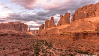 Park Avenue Viewpoint has accessible parking and a accessible trail. Utah, national parks, Arches National Park