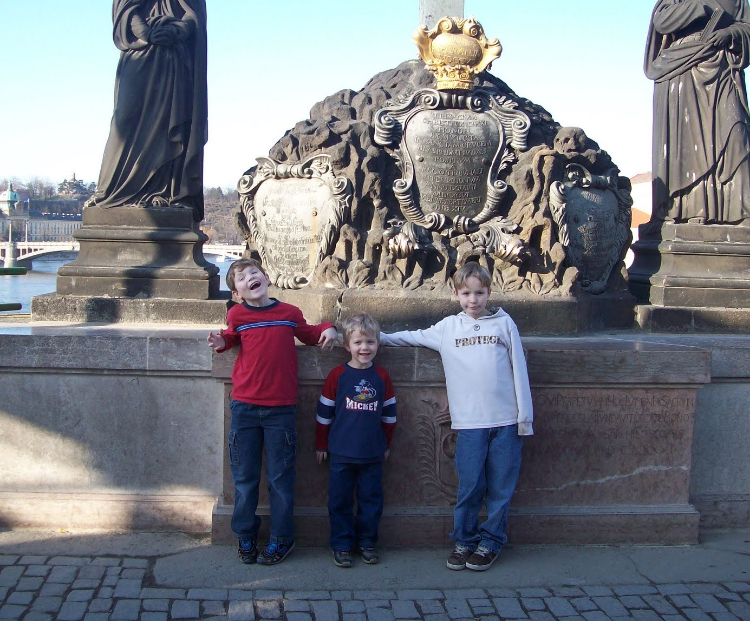 Boys on Charles Bridge in Prague