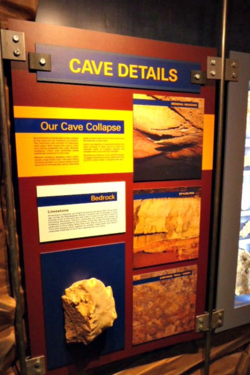 The brilliant Corvette Museum exhibit becomes a lesson in geology as well. Photo by Cindy Richards / Empty Nest TravelingMom