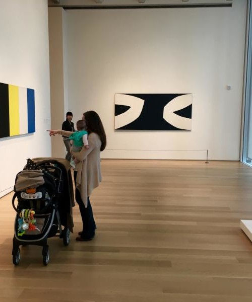 High contrast art and abstract art with color blocking at an art museum can be a feast for baby eyes and a learning tool.