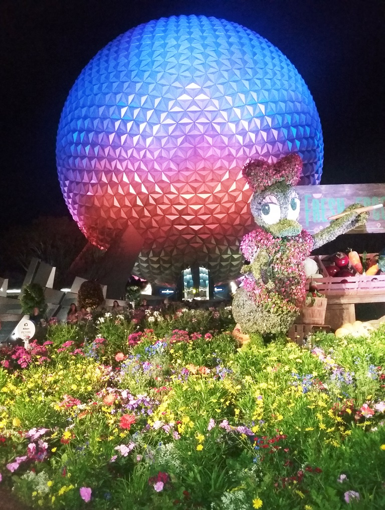 Epcot's iconic Spaceship Earth during the Flower & Garden Festival. Photo credit: Gwen Kleist, Healthy TravelingMom.