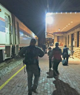 Stress free evening departure on Amtrak family train travel adventure. Photo: Becky Davenport, Budget Traveling Mom
