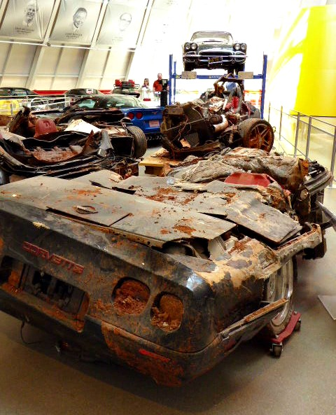 These five mangled Corvettes could not be saved, despite yeoman's efforts from the folks at the National Corvette Museum.Photo by Cindy Richards / Empty Nest TravelingMom