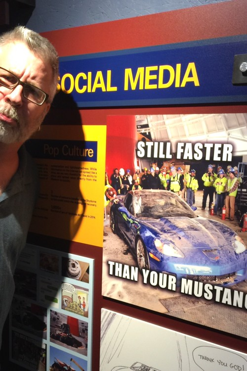 My Mustang-loving husband took this Corvette Museum tweet in good humor. Mostly. Photo by Cindy Richards / Empty Nest TravelingMom