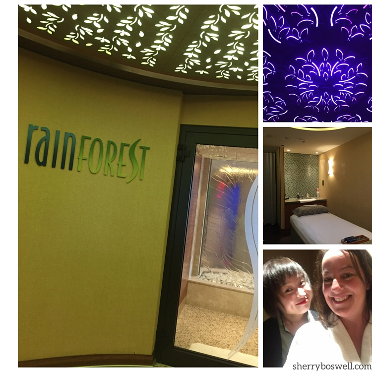 Collage of Senses Spa: Rainforest Room, treatment room, ceiling light has a hidden Mickey, and my massage therapist and me.