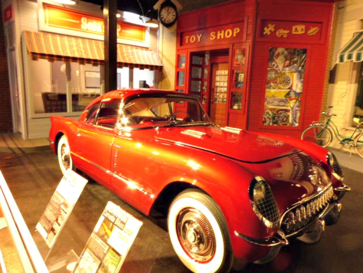 Historical displays at the National Corvette Museum show these cars at their shiny best. Photo by Cindy Richards / Empty Nest TravelingMom