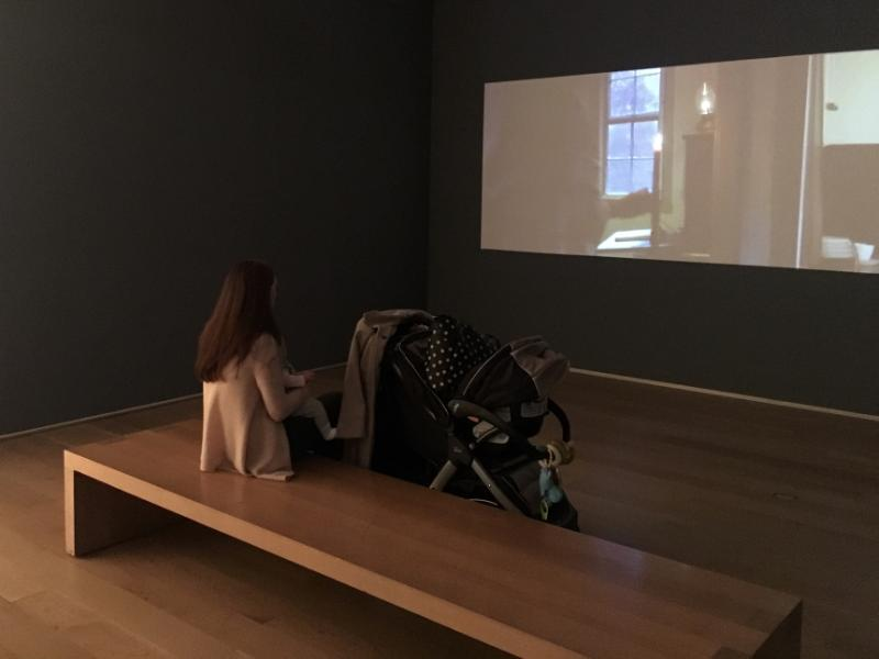 Contemporary art exhibits with video performance art can keep baby entertained during a visit to an art museum. Photo courtesy of Jackie Gibson