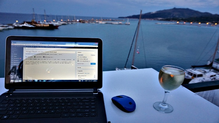 Zakynthos Greece, beauty of blogging when you laptop arrivers safely - photo by Yvonne Jasinski Credit Card TravelingMom