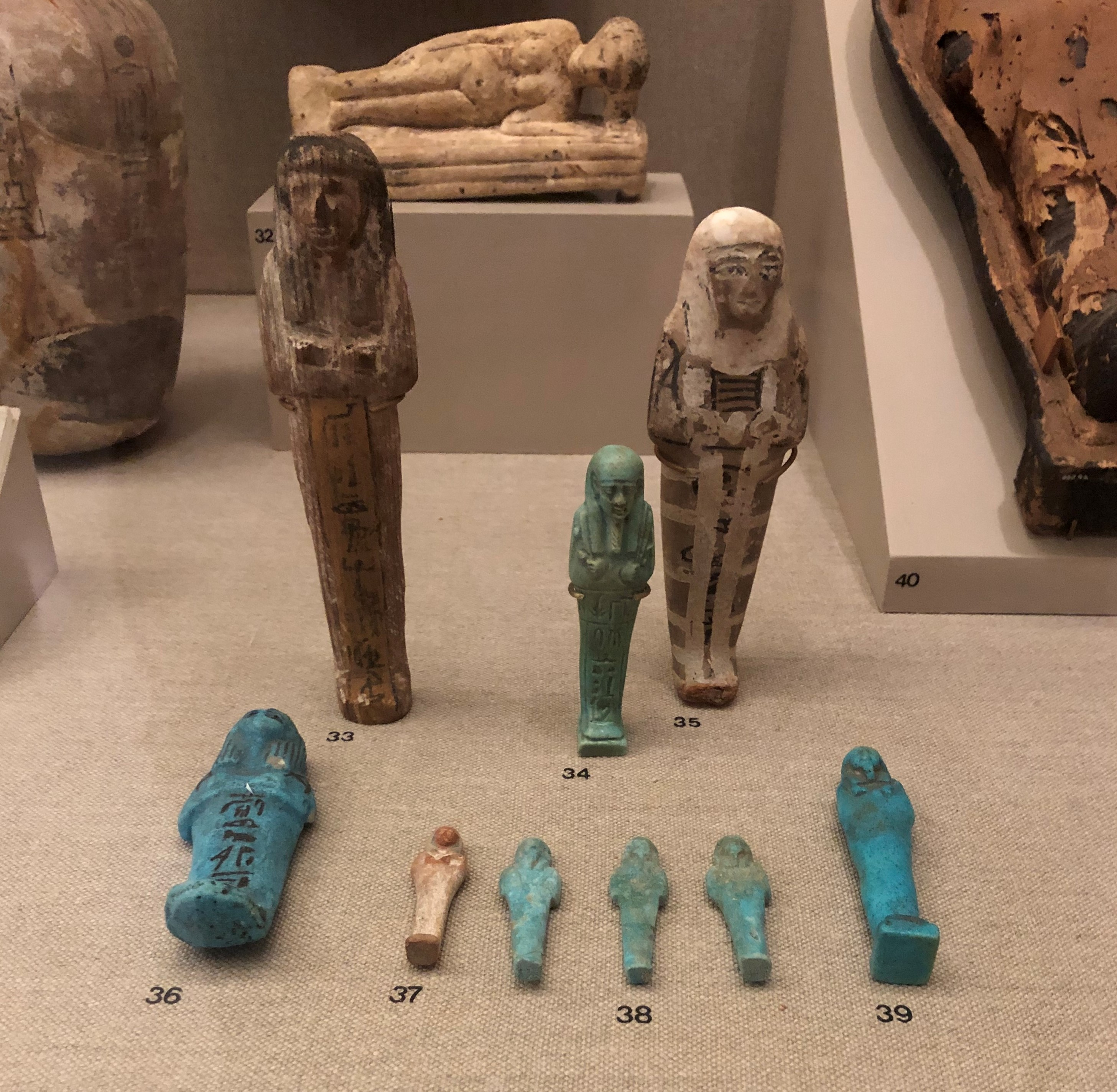 Display of ancient Egyptian ushabti funerary figurines at the U of M Kelsey Museum of Archaeology, one of many free things to do in Ann Arbor MI