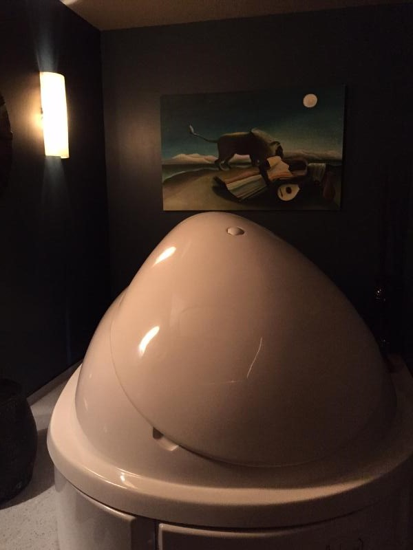 Closed photo of -The Womb- pod at Rise Above Floatation photo credit Fran Capo