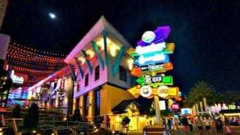 Universal CityWalk at night comes alive with lights.