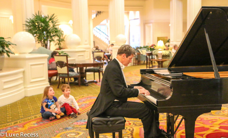 The Grand Floridian lobby piano player adds a level of elegance at this deluxe Dinsey World resort.