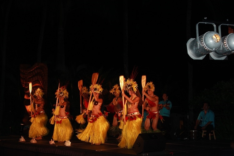 Fire dancers on the beach at The Grand Hyatt Kauai.