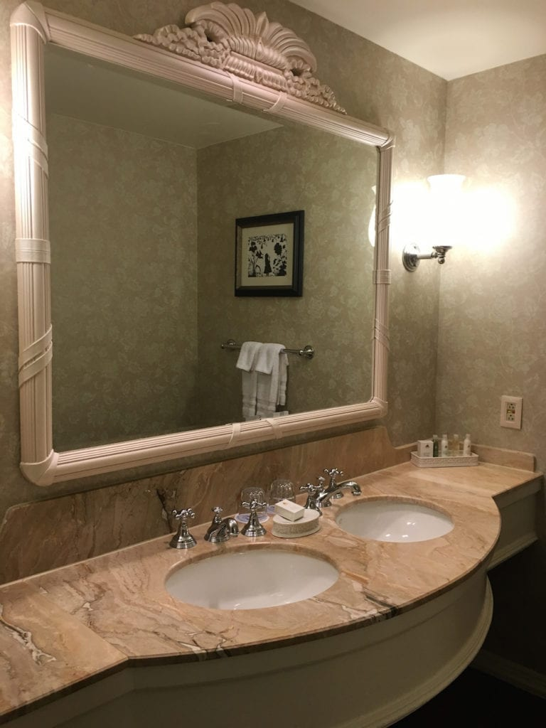 The Grand Floridian Resort bathroom has a marble vanity but not the soaking tub or separate shower I would except for the room rate. Walt Disney World Resort