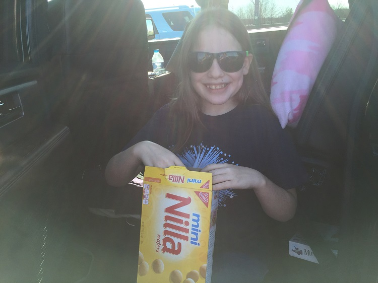 Road trip snack break on a mother-daughter road trip.